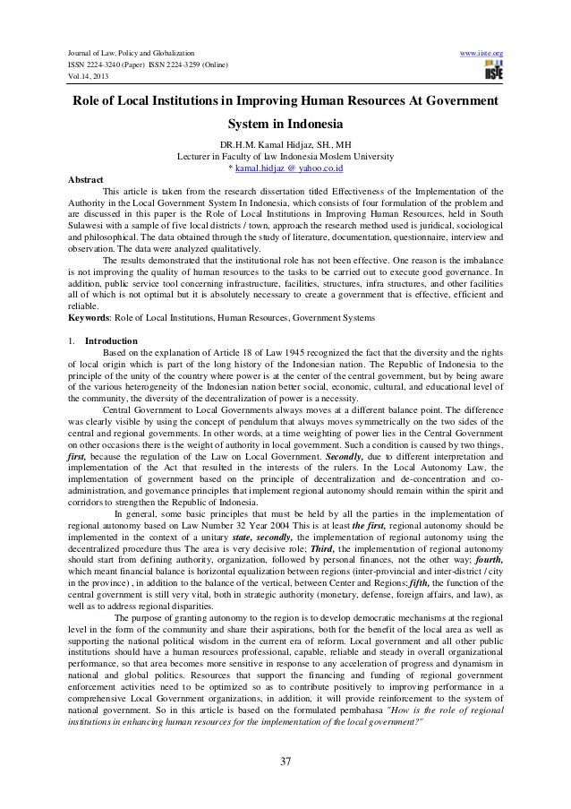 Journal of Law, Policy and Globalization www.iiste.org ISSN 2224-3240 (Paper) ISSN 2224-3259 (Online) Vol.14, 2013 37 Role...