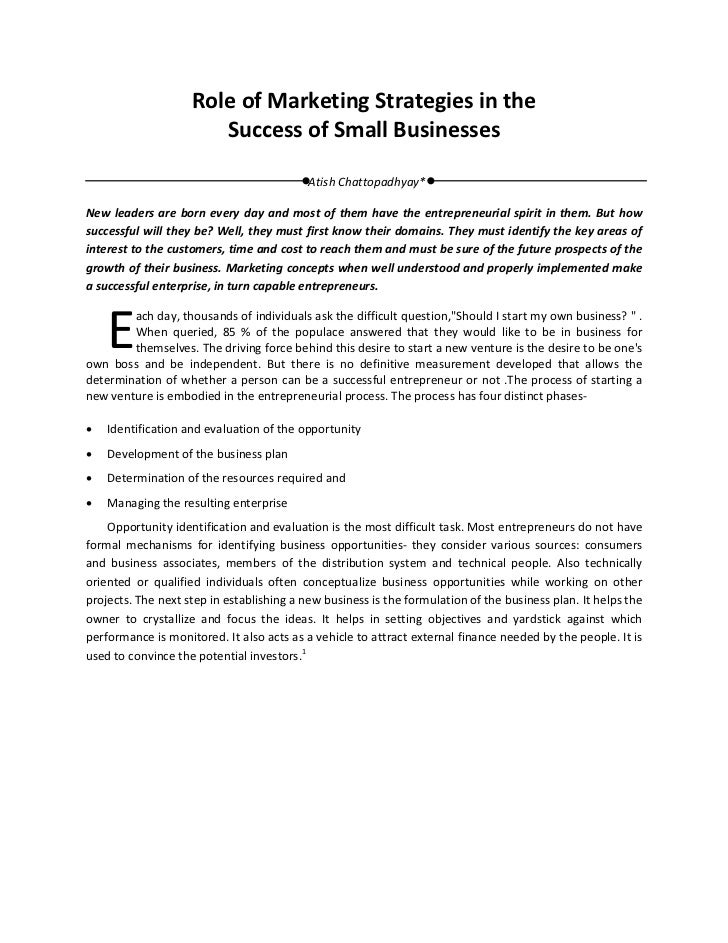 Role of marketing strategies in the success of small businesses