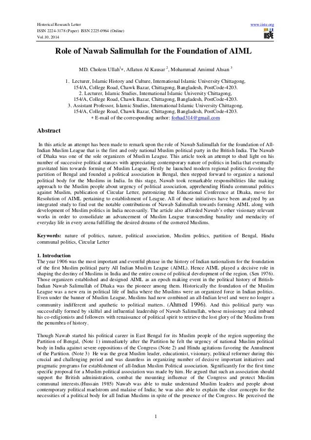 Historical Research Letter www.iiste.org ISSN 2224-3178 (Paper) ISSN 2225-0964 (Online) Vol.10, 2014 1 Role of Nawab Salim...