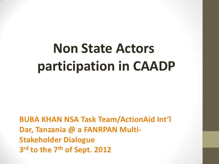 Non State Actors    participation in CAADPBUBA KHAN NSA Task Team/ActionAid Int'lDar, Tanzania @ a FANRPAN Multi-Stakehold...