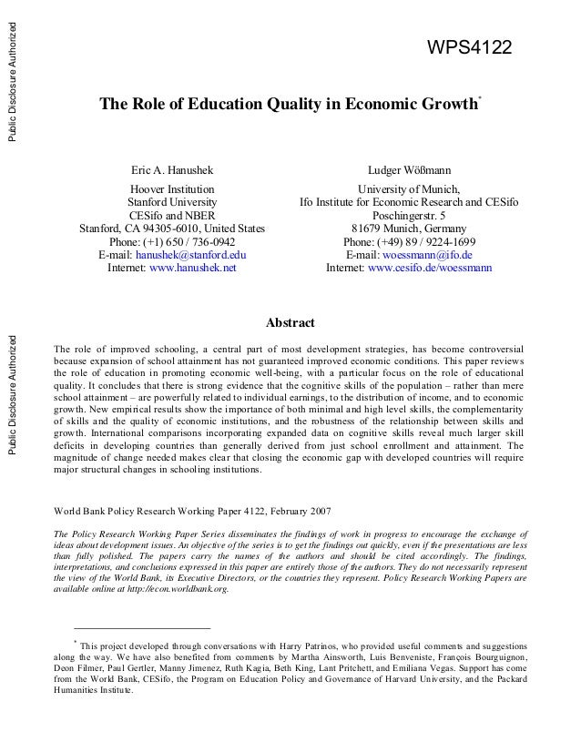 contribution of education toward economic growth Education and economic growth philip stevens and martin weale the role of education in facilitating the use of best-practice technology.