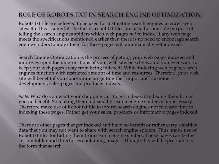 Role Of Robots In Search Engine Optimization