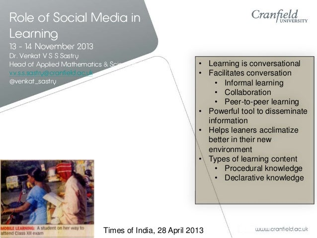 Role of social media in learning