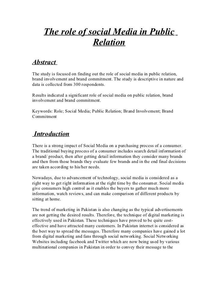 Role of social media in pr