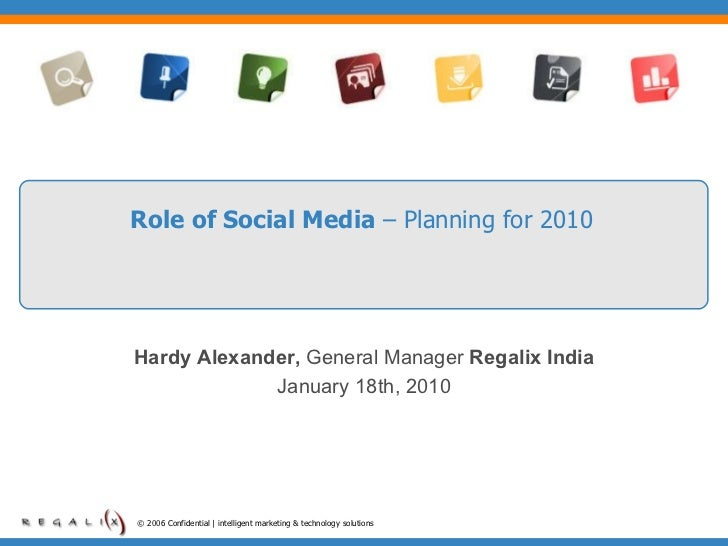 Role of Social Media  – Planning for 2010 © 2006 Confidential | intelligent marketing & technology solutions  Hardy Alexan...