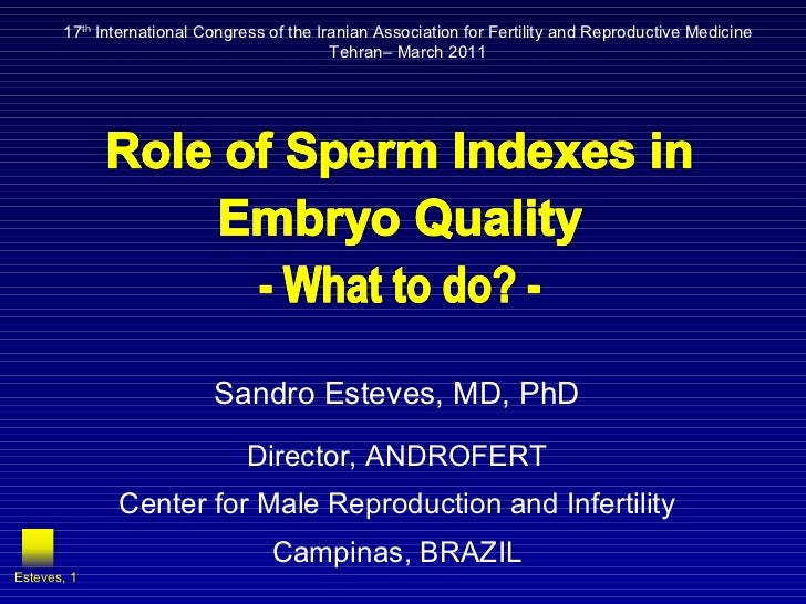 Sandro Esteves, MD, PhD Director, ANDROFERT Center for Male Reproduction and Infertility Campinas, BRAZIL Esteves,  17 th ...
