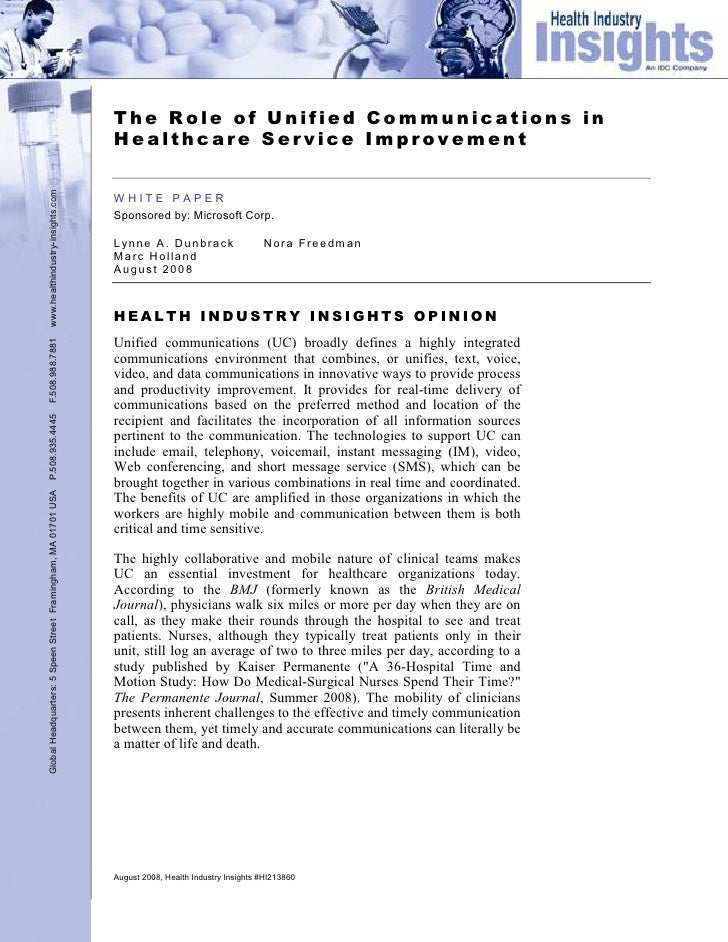 Microsoft Unified Communications – Role in Healthcare Service Improvement Whitepaper