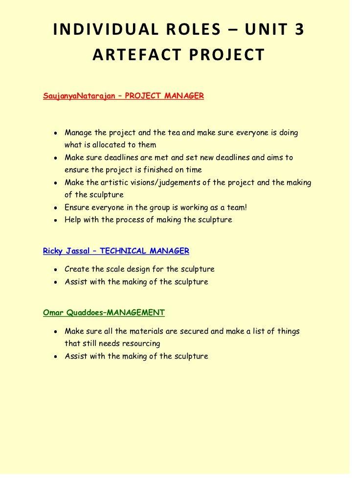 28575-581025INDIVIDUAL ROLES – UNIT 3 ARTEFACT PROJECTINDIVIDUAL ROLES – UNIT 3 ARTEFACT PROJECT<br />Saujanya Natarajan –...