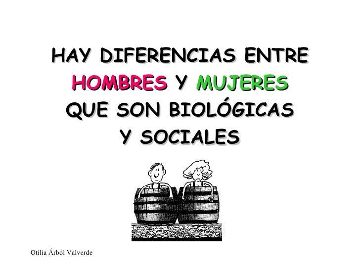 HAY DIFERENCIAS ENTRE  HOMBRES  Y  MUJERES QUE SON BIOLÓGICAS Y SOCIALES