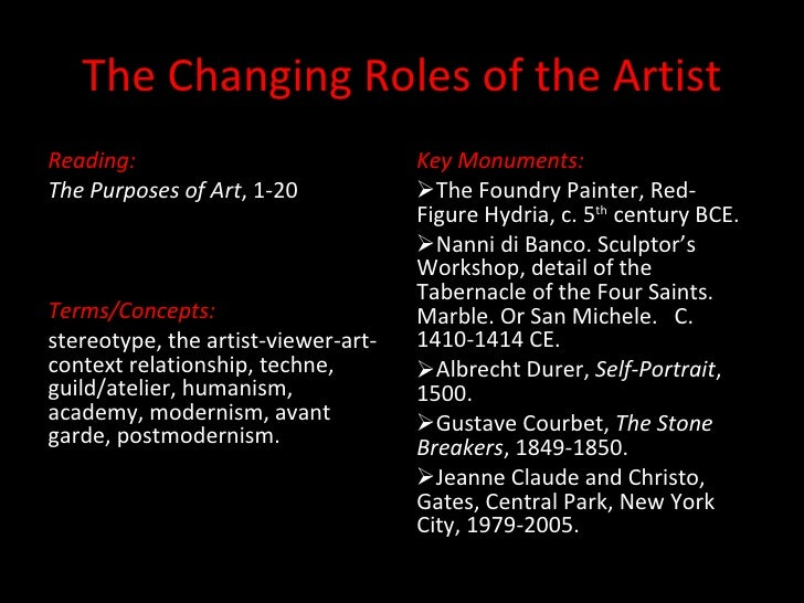 The Changing Roles of the Artist <ul><li>Reading: </li></ul><ul><li>The Purposes of Art , 1-20 </li></ul><ul><li>Terms/Con...