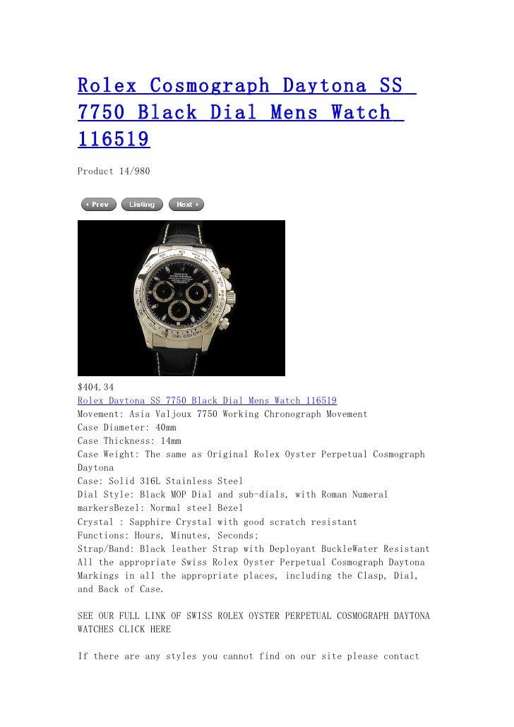 Rolex cosmograph daytona ss 7750 black dial mens watch 116519