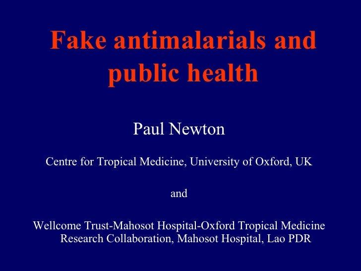 Fake antimalarials and public health