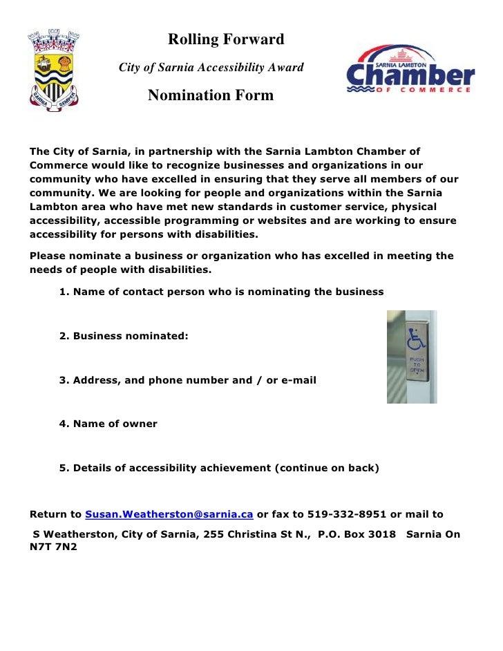 Rolling Forward               City of Sarnia Accessibility Award                     Nomination FormThe City of Sarnia, in...