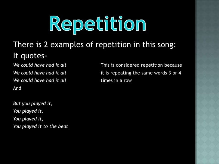 REPETITION EXAMPLES - alisen berde