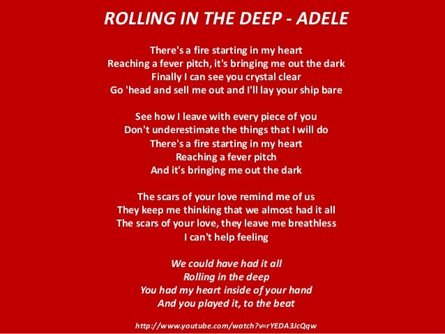 Rolling in the Deep - Adele Rolling In The Deep Songtekst