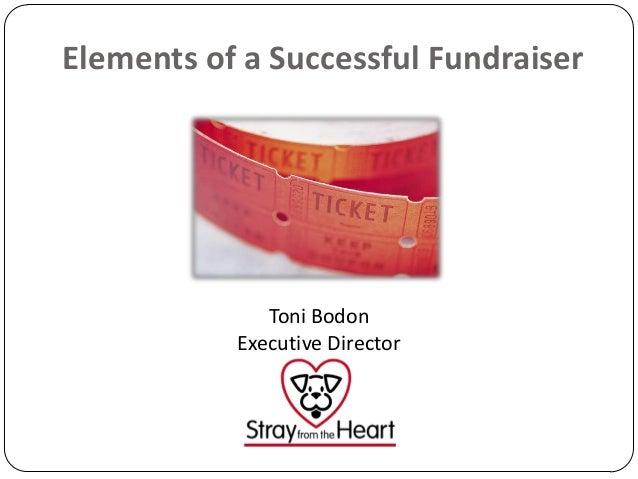 Elements of a Successful Fundraiser  Toni Bodon Executive Director