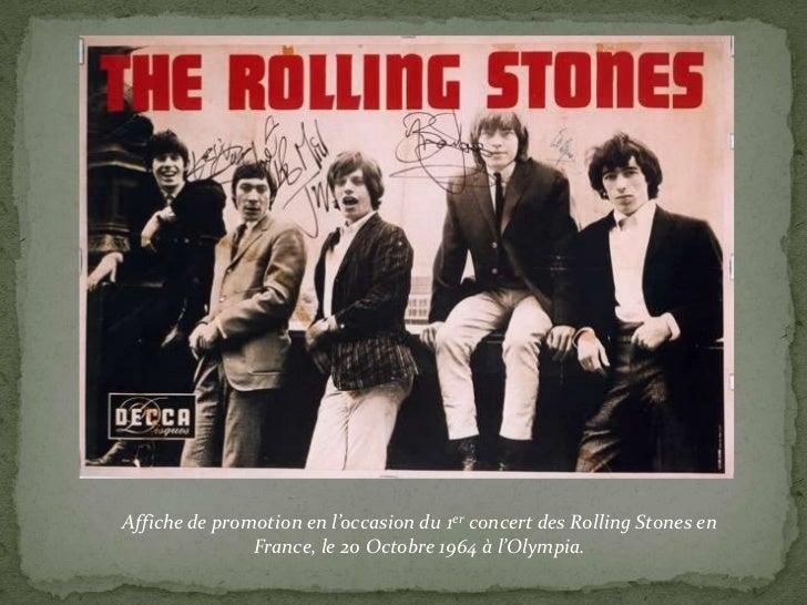 Affiche de promotion en l'occasion du 1er concert des Rolling Stones en               France, le 20 Octobre 1964 à l'Olymp...
