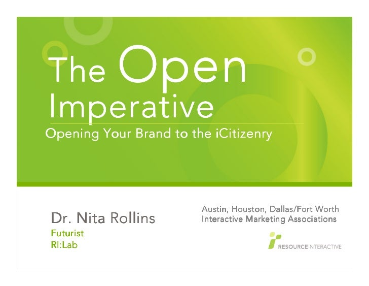 Nita Rollins presents The Open Imperative to Texas Interactive Marketing Associations