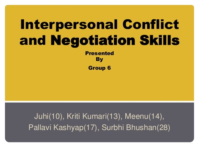 Interpersonal Conflict and Negotiation Skills Presented By Group 6 Juhi(10), Kriti Kumari(13), Meenu(14), Pallavi Kashyap(...
