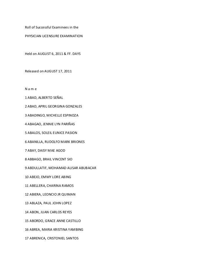 Roll of Successful Examinees in the<br />PHYSICIAN LICENSURE EXAMINATION<br />Held on AUGUST 6, 2011 & FF. DAYS<br />Relea...