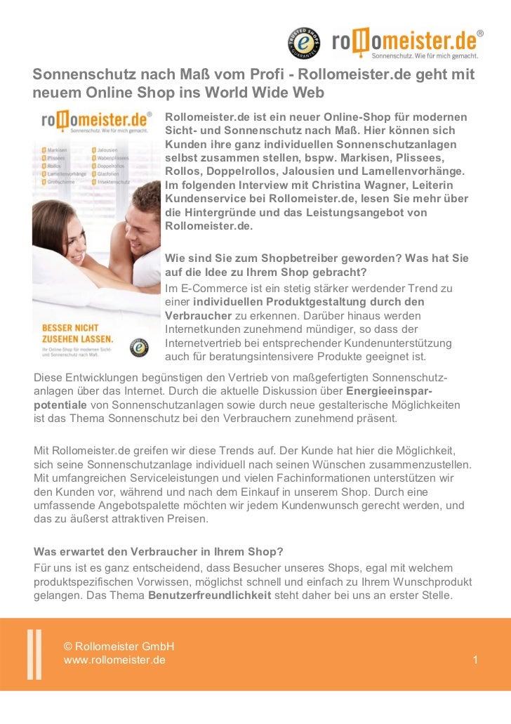 Sonnenschutz nach Maß vom Profi - Rollomeister.de geht mitneuem Online Shop ins World Wide Web                         Rol...
