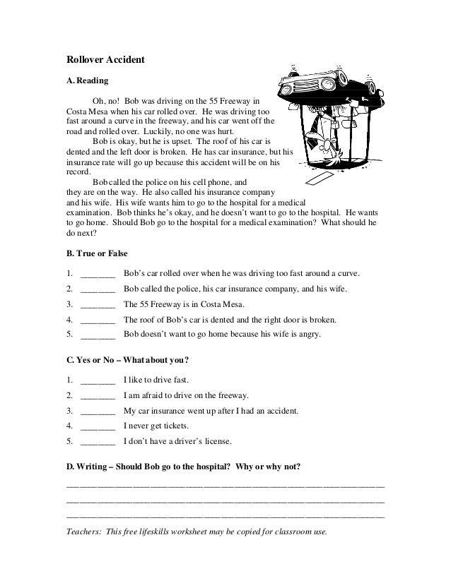 esl comprehension worksheets