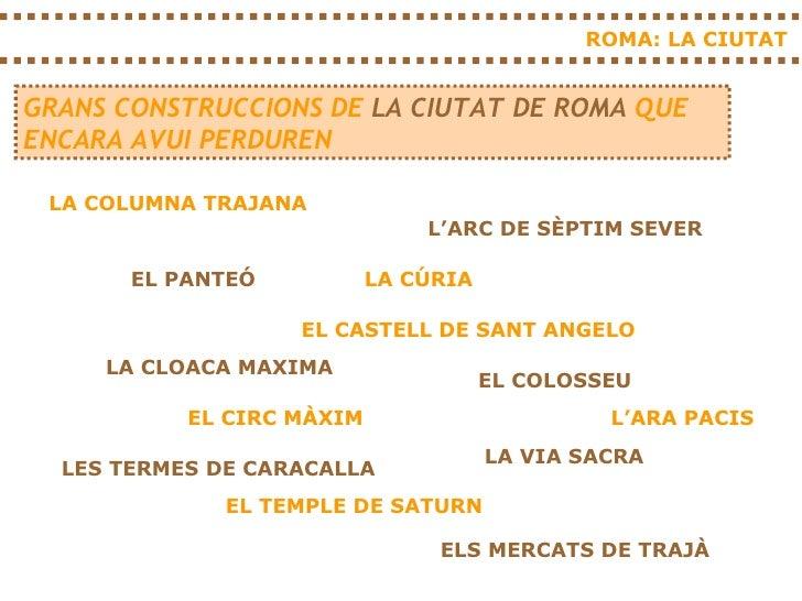 ROMA: LA CIUTAT GRANS CONSTRUCCIONS DE  LA CIUTAT   DE ROMA  QUE ENCARA AVUI PERDUREN LA COLUMNA TRAJANA L'ARC DE SÈPTIM S...