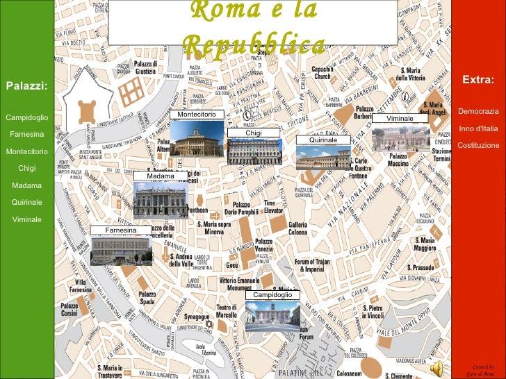 Palazzi: Campidoglio Farnesina Montecitorio Chigi Madama Quirinale Viminale Extra: Democrazia Inno d'Italia Costituzione M...