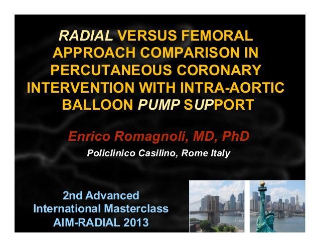 Romagnoli E - AIMRADIAL 2013 - Radial and IABP