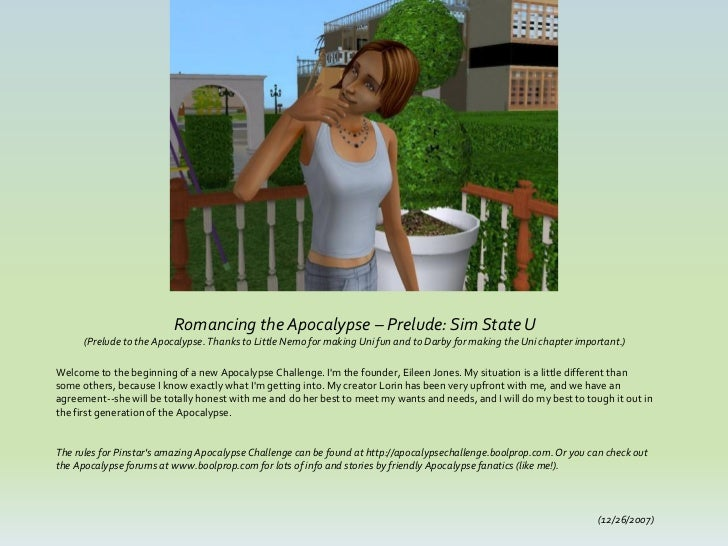 Romancing the Apocalypse – Prelude: Sim State U      (Prelude to the Apocalypse. Thanks to Little Nemo for making Uni fun ...