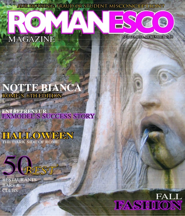ROMANESCOMAGAZINE AUR HOUSING: FRAUD OR STUDENT MISCONCEPTION? SEPTEMBER-DECEMBER 2008 50RESTAURANTS BARS & CLUBS BEST FAL...