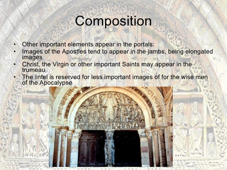 the main characteristics of romanesque art Growing out of the sturdy, somewhat crude representations of the romanesque style, the gothic art movement strove, by its late period in the 14th and 15th centuries, to liberate painted and sculpted images to a more natural and free-flowing depiction.