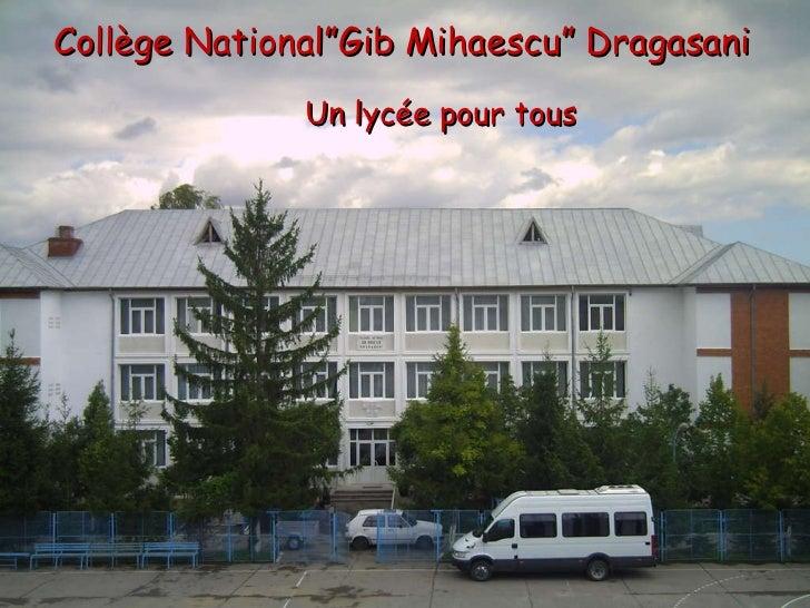 """Collège National """" Gib Mihaescu """"  Dragasani   Un lycée pour tous"""