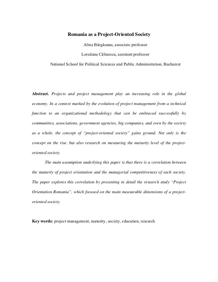 Romania as a Project-Oriented Society                             Alina Bârgăoanu, associate professor                    ...