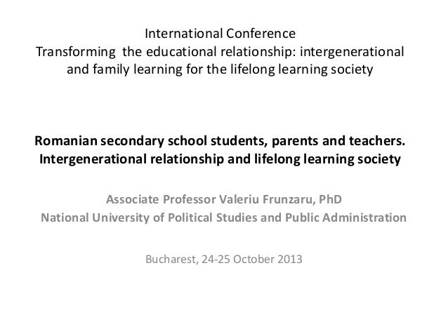 International Conference Transforming the educational relationship: intergenerational and family learning for the lifelong...