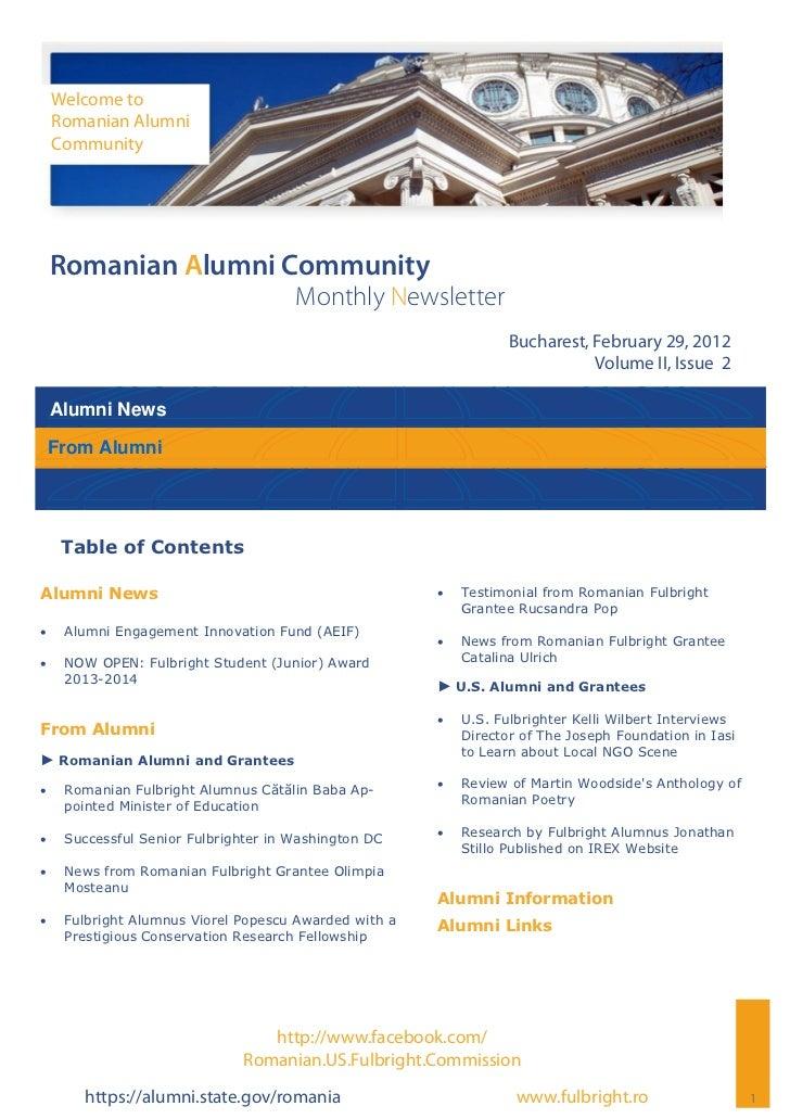 Welcome to     Romanian Alumni     Community Romanian Alumni Community                                       Monthly Newsl...