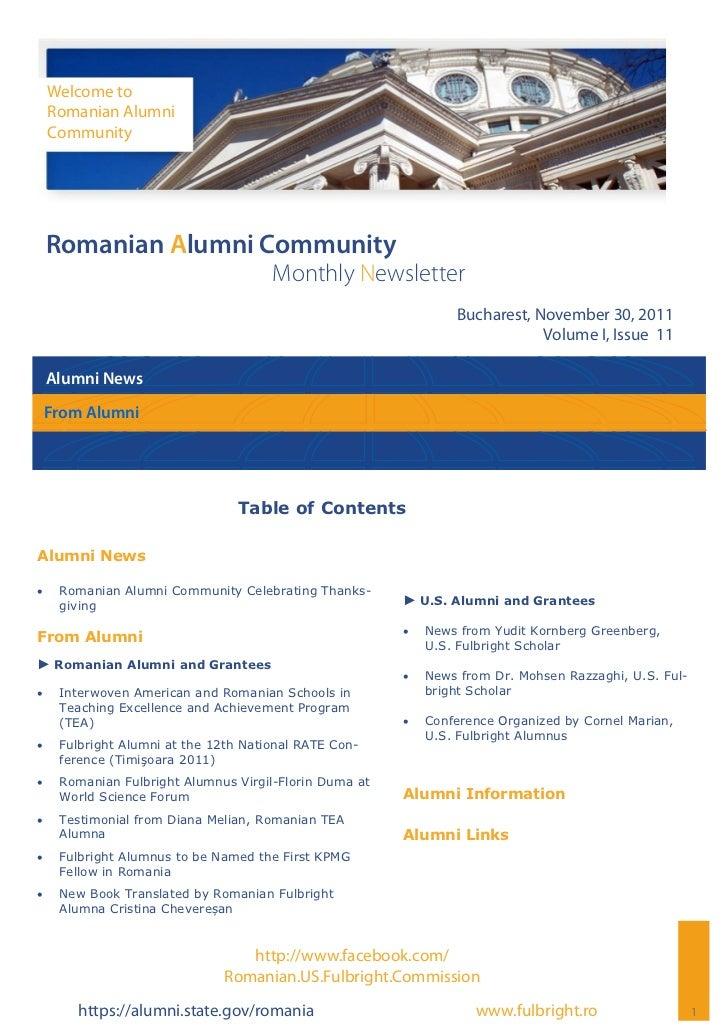 Romanian Alumni Community Newsletter - Volume I, Issue 11