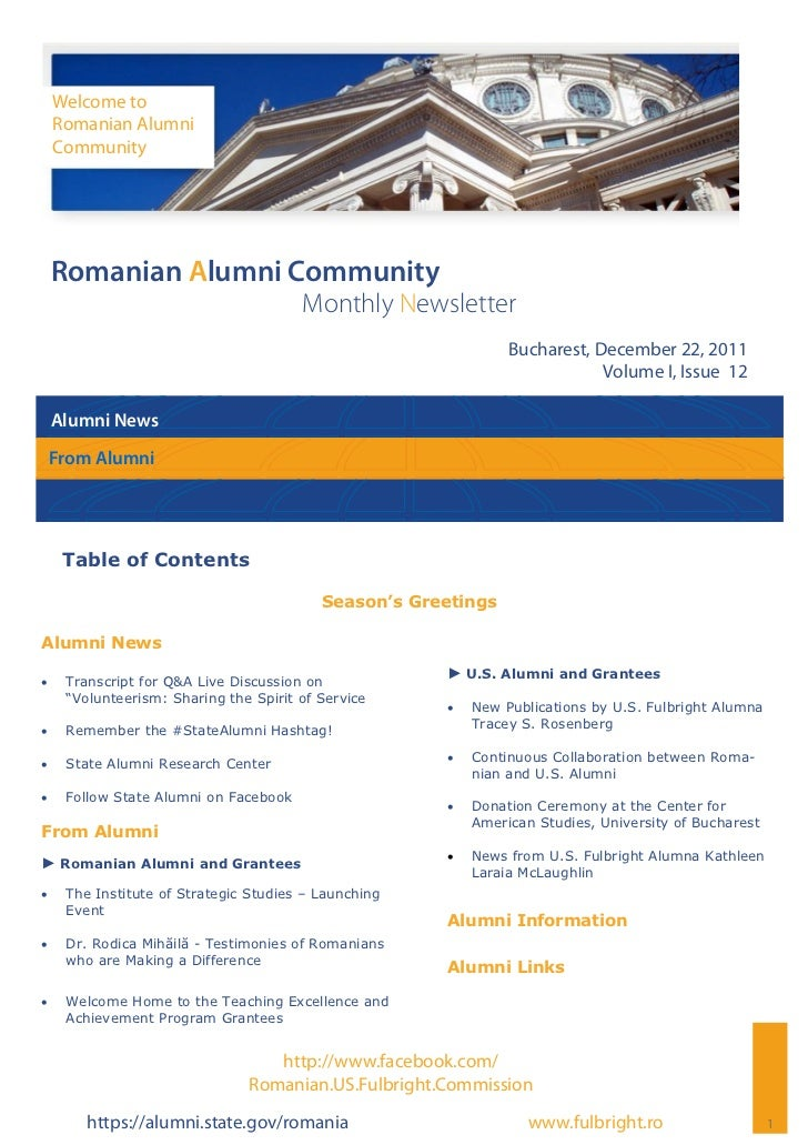 Romanian Alumni Community Newsletter   Volume I, Issue 12