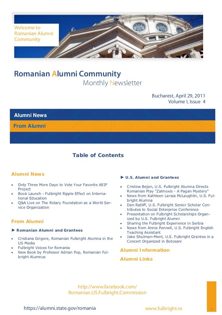 Romanian Alumni Community Newsletter - Volume I, Issue 4