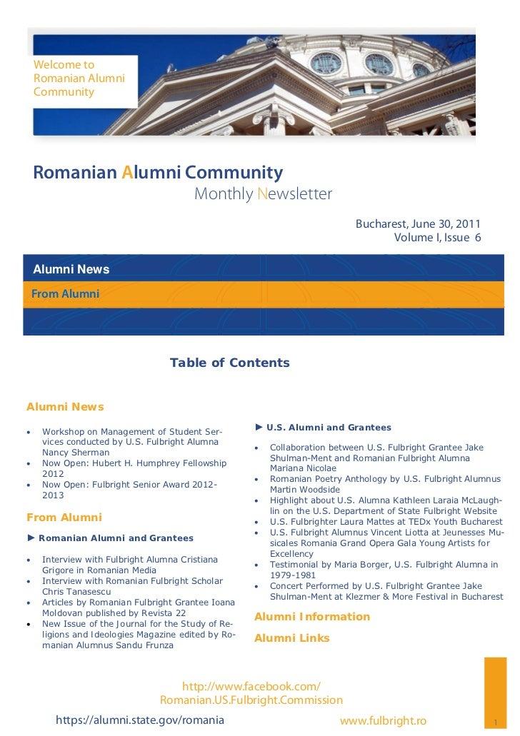 Romanian Alumni Community Newsletter   Volume I, Issue 6
