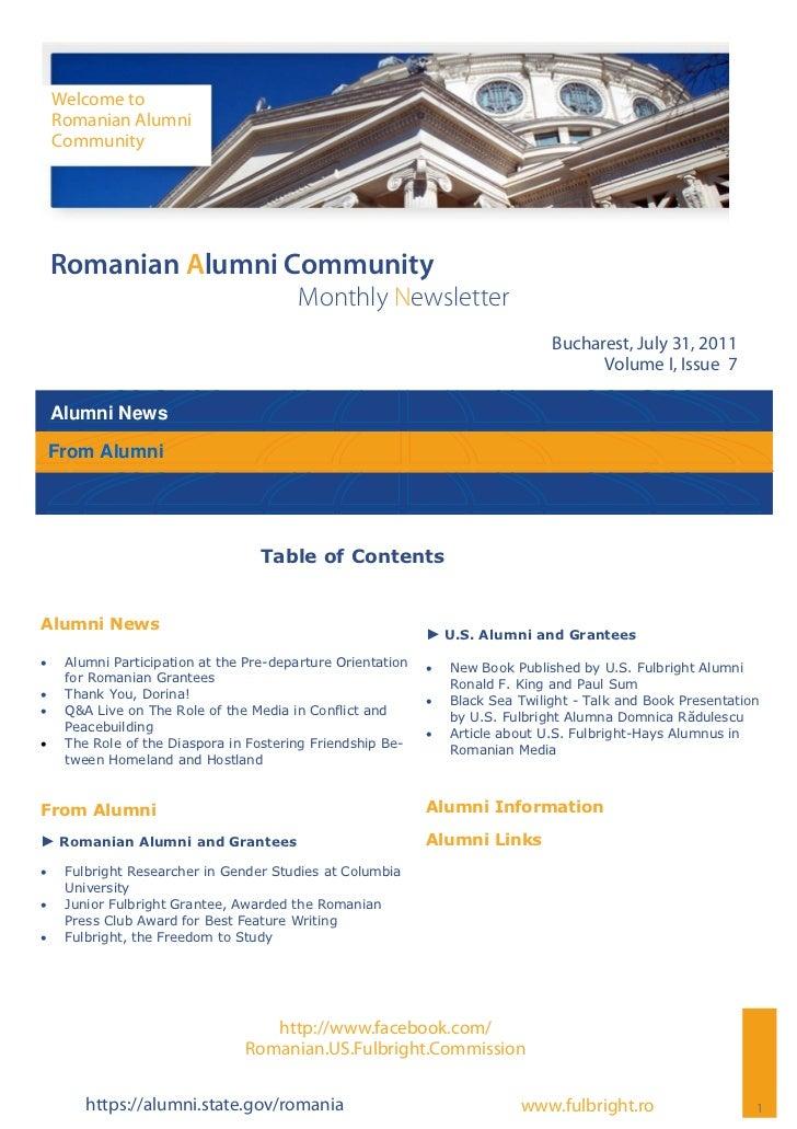 Welcome to     Romanian Alumni     Community Romanian Alumni Community                                          Monthly Ne...