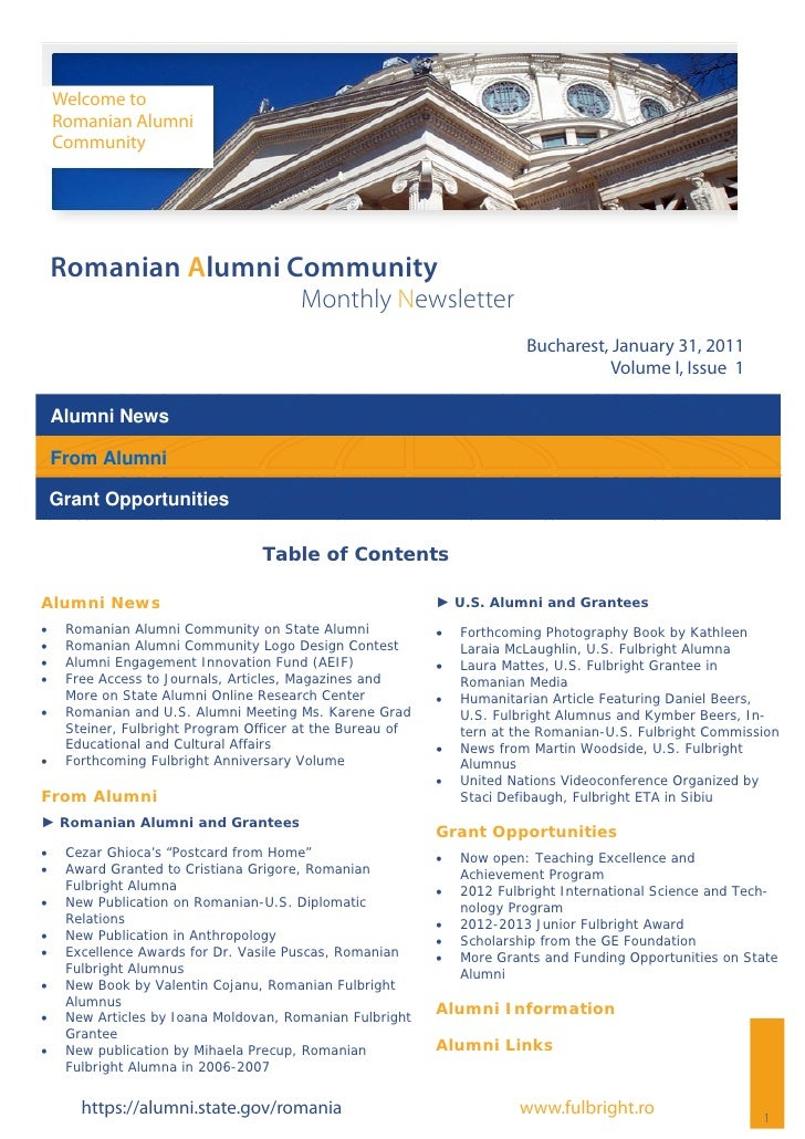 Romanian alumni community newsletter volume i, issue 1