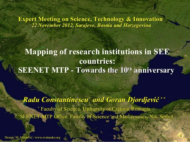 Expert Meeting on Science, Technology & Innovation                   22 November 2012, Sarajevo, Bosnia and Herzegovina   ...