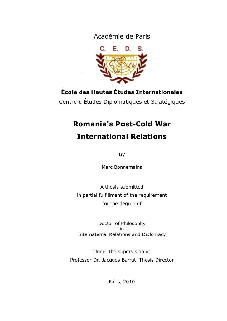 Académie de ParisÉcole des Hautes Études InternationalesCentre d'Études Diplomatiques et Stratégiques     Romanias Post-Co...