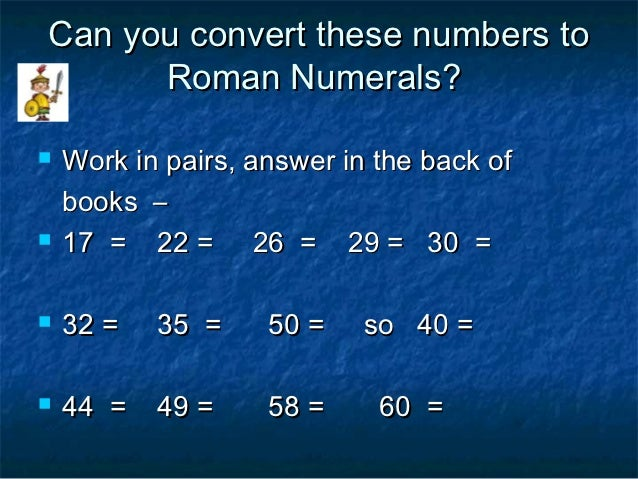 Numbers to Roman Numerals