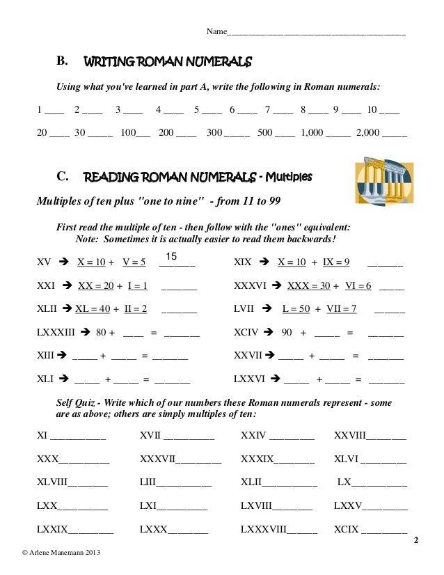 Romannumerals lessons worksheetsquizzes