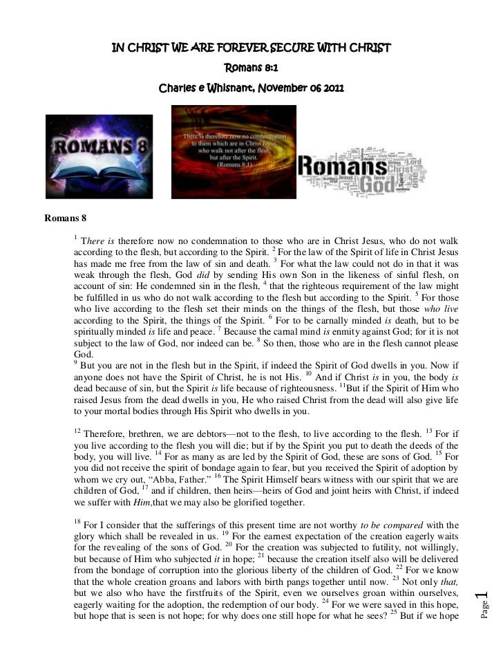 Romans 8 1 mms notes by Charles Whisnant