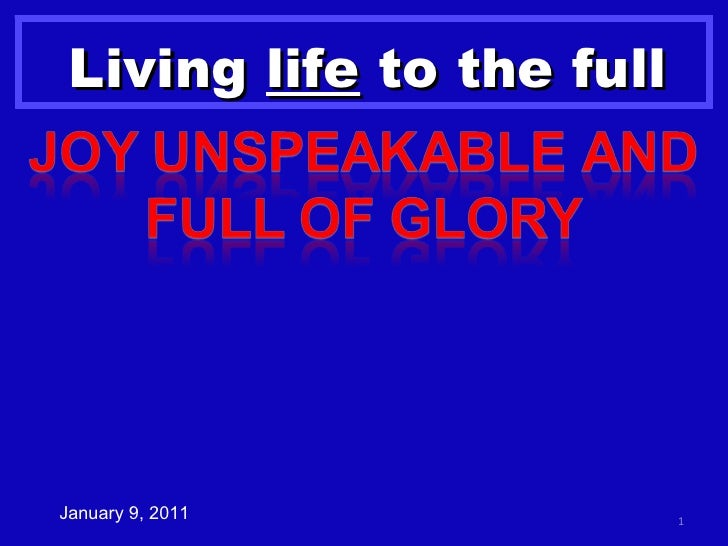 Romans 8c Joy Unspeakable