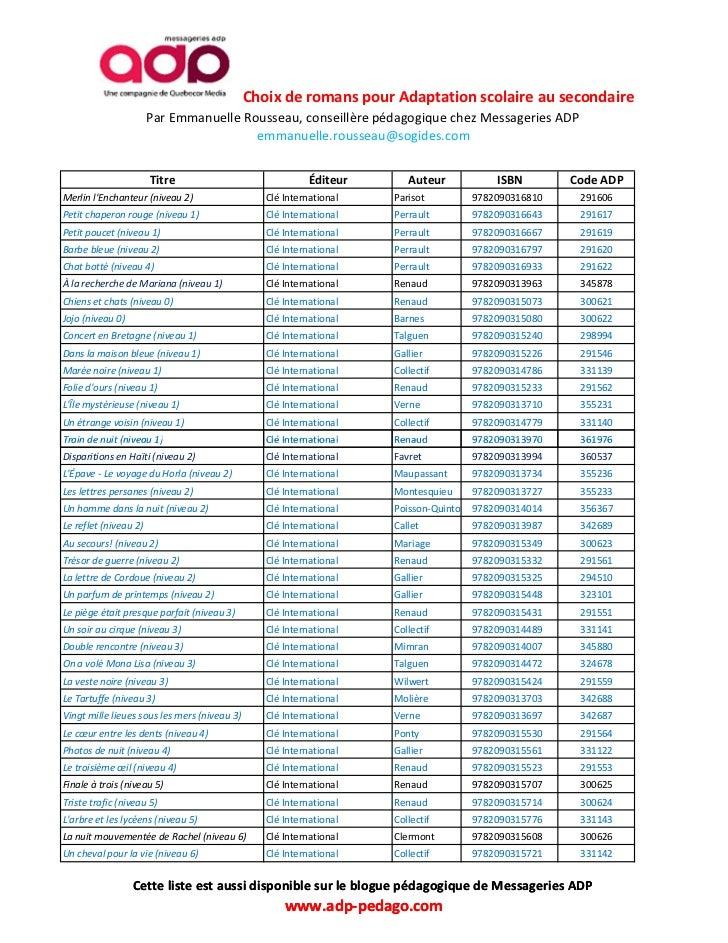 Liste abrégée de Romans pour Adaptation scolaire au secondaire