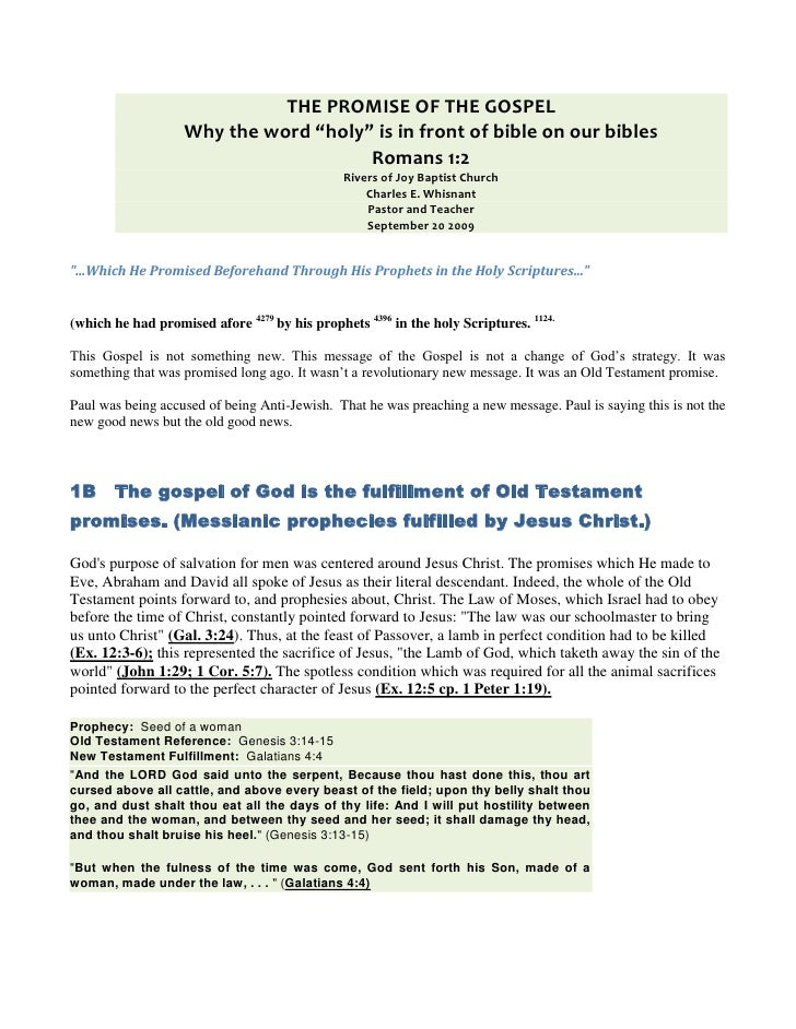 "THE PROMISE OF THE GOSPEL<br />Why the word ""holy"" is in front of bible on our bibles<br />Romans 1:2<br />Rivers of Joy B..."